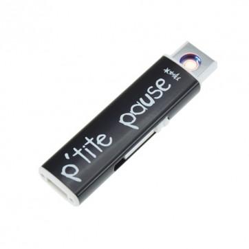 """Briquet USB """" P'tite pause """" Noir"""