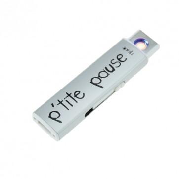 """Briquet USB """" P'tite pause """" Argent"""
