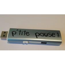 """Briquet USB """" P'tite pause """" Bleu métallisé"""
