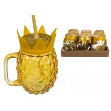 "Mug Bocal avec paille "" Ananas """