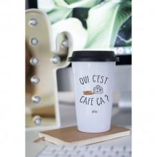 """Mug à emporter """" Qui c'est café çà ? """""""