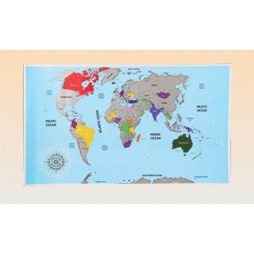 Carte du monde a gratter Rétro